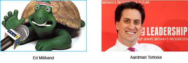 Ed Miliband and an Aardman Tortoise