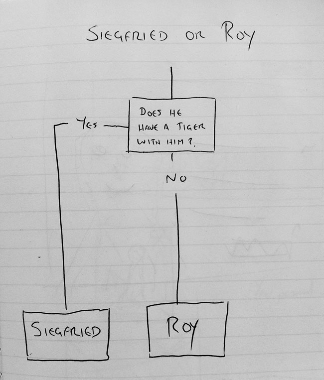 Siegfried and Roy identification flowchat