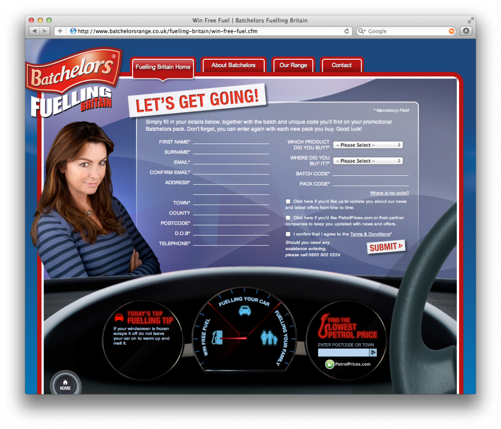 Batchelor's Free Fuel Web Page - desktop browser