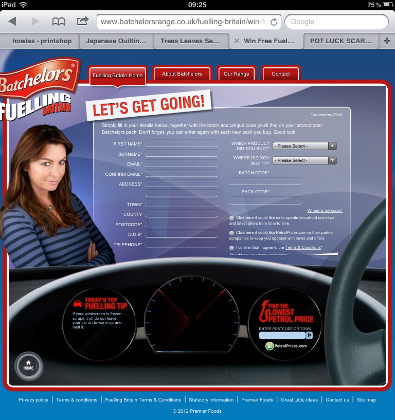 Batcherlor's Free Fuel website - the mobile version